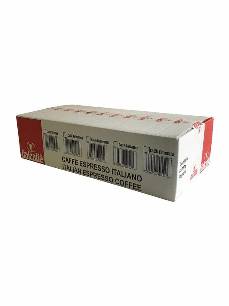Karton Italcaffe 100% Arabica Kaffeebohnen Brasilien Santos 4x250g