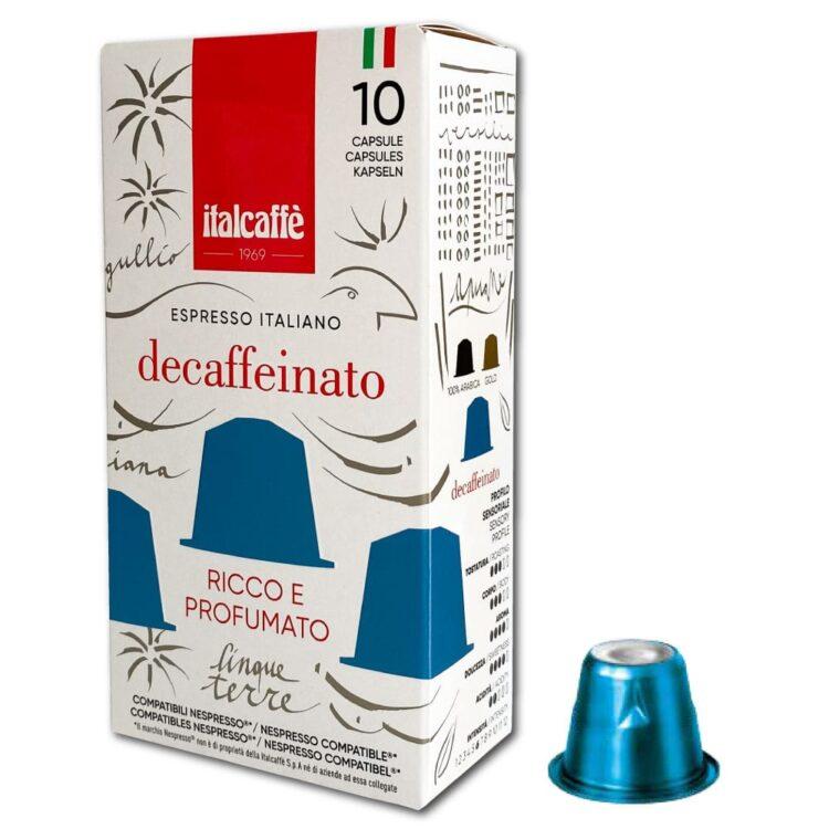Capsule caffè espresso decaffeinato Italcaffè compatibili Nespresso lato destro